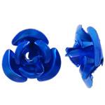 Aluminium-Lackschnitzerei, Aluminium, Blume, Spritzlackierung, blau, 8x8.50x5mm, Bohrung:ca. 1.1mm, 950PCs/Tasche, verkauft von Tasche
