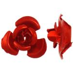 Aluminium-Lackschnitzerei, Aluminium, Blume, Spritzlackierung, rot, 6x7x4mm, Bohrung:ca. 1mm, 950PCs/Tasche, verkauft von Tasche