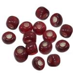 Silbereinzug Glas Rocailles, Glas-Rocailles, Rondell, dunkelrot, 3x3.60mm, Bohrung:ca. 1mm, verkauft von Tasche