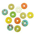 Millefiori Scheibe Glas Anhänger, Lampwork, Kreisring, innen Blume, gemischte Farben, 21x21x4mm, Bohrung:ca. 5mm, 20PCs/Menge, verkauft von Menge
