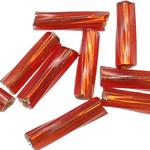 Bugles Seed Perlen drehen, Glas-Rocailles, Rohr, transparent & Twist, rote Orange, 2x6mm, Bohrung:ca. 1mm, verkauft von Tasche