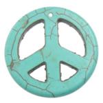 Türkis Anhänger, Synthetische Türkis, Frieden Logo, Türkisblau, 34x34x4mm, Bohrung:ca. 1.2mm, 100PCs/Menge, verkauft von Menge