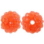Harz Strass Perlen, Trommel, orange, 12x14mm, Bohrung:ca. 2.5mm, 100PCs/Tasche, verkauft von Tasche