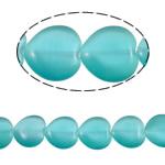 Cats Eye Perlen Schmuck, Katzenauge, Herz, blau, 20x20x6mm, Bohrung:ca. 2mm, ca. 19PCs/Strang, verkauft per ca. 15.2 ZollInch Strang