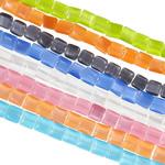 Cats Eye Perlen Schmuck, Katzenauge, Quadrat, gemischte Farben, 8x8x4mm, Bohrung:ca. 1mm, Länge:ca. 14.6-16.1 ZollInch, 10SträngeStrang/Tasche, ca. 46PCs/Strang, verkauft von Tasche