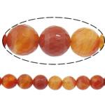 Natürlich rote Achat Perlen, Roter Achat, rund, verschiedene Größen vorhanden & Maschine facettiert & Streifen, Bohrung:ca. 1-1.2mm, Länge:15.5 ZollInch, verkauft von Menge