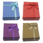 Karton Schmuckset Kasten, Fingerring & Ohrring & Halskette, Rechteck, mit Muster von runden Punkten, gemischte Farben, 90x70x25mm, 72PCs/Menge, verkauft von Menge