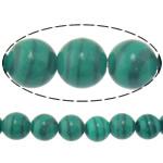 Malachit Perlen, rund, synthetisch, 8mm, Bohrung:ca. 1mm, Länge:ca. 15 ZollInch, 10SträngeStrang/Menge, ca. 46PCs/Strang, verkauft von Menge