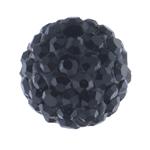 Strass Ton befestigte Perlen, rund, mit Strass, Jet schwarz, 10mm, Bohrung:ca. 2mm, 10PCs/Tasche, verkauft von Tasche