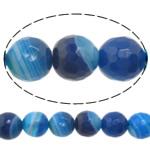 Natürliche blaue Achat Perlen, Blauer Achat, rund, Maschine facettiert & Streifen, 8mm, Bohrung:ca. 0.8-1mm, Länge:15 ZollInch, 10SträngeStrang/Menge, verkauft von Menge