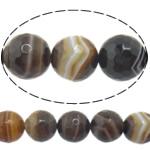 Natürliche Kaffee Achat Perlen, rund, Maschine facettiert & Streifen, 12mm, Bohrung:ca. 1-1.5mm, Länge:15 ZollInch, 5SträngeStrang/Menge, verkauft von Menge