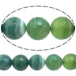 Natürliche grüne Achat Perlen, Grüner Achat, rund, verschiedene Größen vorhanden & Maschine facettiert & Streifen, Bohrung:ca. 1-1.2mm, Länge:15 ZollInch, verkauft von Menge