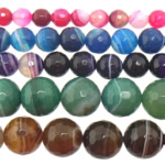 Achat Perlen, gemischter Achat, rund, verschiedene Größen vorhanden & Streifen, gemischte Farben, Bohrung:ca. 1-1.2mm, Länge:15 ZollInch, verkauft von Menge