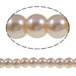 Perlmuttartige Glasperlen, Glas, rund, helles Rosa, 6mm, Bohrung:ca. 1-1.5mm, Länge:ca. 32.3 ZollInch, 10SträngeStrang/Tasche, verkauft von Tasche