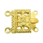 Messing Schnappschließe, Rechteck, goldfarben plattiert, 2 strängig, frei von Nickel, Blei & Kadmium, 10x7x2.50mm, Bohrung:ca. 1mm, 300PCs/Tasche, verkauft von Tasche