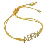 Zinklegierung Armband, mit Wachsschnur, Buchstabe, goldfarben plattiert, gelb, frei von Nickel, Blei & Kadmium, 31x9x2mm, verkauft per ca. 7.5 ZollInch Strang