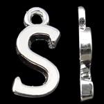 Zinklegierung Buchstaben Anhänger, silberfarben plattiert, frei von Nickel, Blei & Kadmium, 15.50x7.50x2mm, Bohrung:ca. 2mm, 10PCs/Tasche, verkauft von Tasche