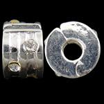 Messing European Clipverschluss, Rondell, silberfarben plattiert, mit Strass, frei von Nickel, Blei & Kadmium, 9x5.70x9.50mm, Bohrung:ca. 3mm, 10PCs/Tasche, verkauft von Tasche