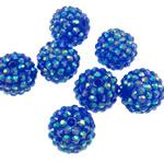 Harz Strass Perlen, Trommel, AB Farben platiniert, blau, 16x18mm, Bohrung:ca. 2.5mm, 100PCs/Tasche, verkauft von Tasche