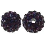 Strass Ton befestigte Perlen, rund, mit Strass, Amethyst, 10mm, Bohrung:ca. 2mm, 10PCs/Tasche, verkauft von Tasche