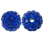 Strass Ton befestigte Perlen, rund, mit Strass, Saphir, 10mm, Bohrung:ca. 2mm, 10PCs/Tasche, verkauft von Tasche