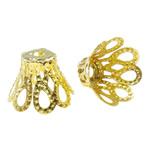 Eisen Perlenkappen, Blume, goldfarben plattiert, frei von Nickel, Blei & Kadmium, 11x8mm, Bohrung:ca. 2mm, ca. 2000PCs/Tasche, verkauft von Tasche