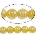 Plattierte Lampwork Perlen, rund, gelb, 16mm, Bohrung:ca. 1-2.5mm, Länge:ca. 12.8 ZollInch, 10SträngeStrang/Tasche, verkauft von Tasche