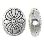 Zinklegierung flache Perlen, flachoval, antik silberfarben plattiert, frei von Nickel, Blei & Kadmium, 10x11.50x4.40mm, Bohrung:ca. 1.7mm, ca. 476PCs/kg, verkauft von kg