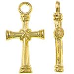 Zinklegierung Kreuz Anhänger, goldfarben plattiert, frei von Nickel, Blei & Kadmium, 11x21x3mm, Bohrung:ca. 2mm, ca. 1250PCs/kg, verkauft von kg