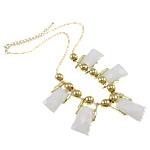 Zinklegierung Schmuck Halskette, mit Eisen & Acryl, Zinklegierung Karabinerverschluss, Trapez, goldfarben plattiert, weiß, frei von Nickel, Blei & Kadmium, 20x37x5mm, verkauft per ca. 17 ZollInch Strang