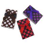 Karton Schmuckset Kasten, mit Satinband, Rechteck, mit Muster von runden Punkten, gemischte Farben, 50x79x26mm, 72PCs/Tasche, verkauft von Tasche