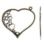 Zinklegierung Herz Anhänger, antike Bronzefarbe plattiert, frei von Nickel, Blei & Kadmium, 67.50x61x2mm, Bohrung:ca. 3mm, ca. 110PCs/kg, verkauft von kg