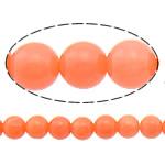 Natürliche Korallen Perlen, rund, orange, 3mm, Bohrung:ca. 0.5mm, Länge:ca. 16 ZollInch, 10SträngeStrang/Menge, ca. 122PCs/Strang, verkauft von Menge