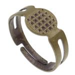 Zinklegierung Fingerring Einstellung, Messing, antike Bronzefarbe plattiert, einstellbar, frei von Blei & Kadmium, 18x17x8mm, Bohrung:ca. 1mm, Größe:6.5, 500PCs/Tasche, verkauft von Tasche