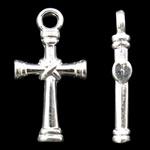 Zinklegierung Kreuz Anhänger, silberfarben plattiert, frei von Nickel, Blei & Kadmium, 11x20x3mm, Bohrung:ca. 2mm, ca. 1078PCs/kg, verkauft von kg