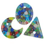 Millefiori Scheibe Glas Anhänger, Lampwork, handgemacht, mit Millefiori Scheibe, gemischte Farben, 38-41mm, Bohrung:ca. 5mm, 50PCs/Tasche, verkauft von Tasche