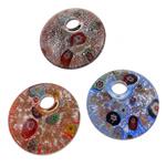 Millefiori Scheibe Glas Anhänger, Lampwork, flache Runde, handgemacht, mit Millefiori Scheibe, gemischte Farben, 43x10mm, Bohrung:ca. 9mm, 12PCs/Box, verkauft von Box