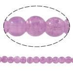 Knistern Glasperlen, Glas, rund, hellviolett, 6mm, Bohrung:ca. 1mm, Länge:ca. 31.4 ZollInch, 10SträngeStrang/Tasche, verkauft von Tasche