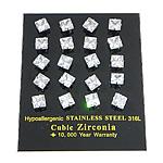 316 L Edelstahl Ohrstecker, Quadrat, mit kubischem Zirkonia, weiß, 7x7x14mm, 0.8mm, verkauft von Paar