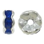 Messing Zwischenperlen, Blume, silberfarben plattiert, mit Strass, blau, frei von Nickel, Blei & Kadmium, 7x3mm, Bohrung:ca. 1.5mm, 100PCs/Tasche, verkauft von Tasche