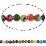 Chevron Glasperlen, rund, handgemacht, gemischte Farben, 6mm, Bohrung:ca. 1mm, Länge:ca. 14.7 ZollInch, 10SträngeStrang/Menge, verkauft von Menge