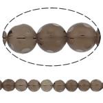 Natürliche Rauchquarz Perlen, rund, handgemachte facettiert, 14mm, Bohrung:ca. 1.5mm, Länge:15 ZollInch, 5SträngeStrang/Menge, verkauft von Menge