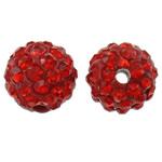 Strass Ton befestigte Perlen, rund, mit Strass, Hyazinth, 10mm, Bohrung:ca. 2mm, 50PCs/Tasche, verkauft von Tasche