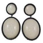 Zinklegierung Ohrringe, mit Harz, Messing Stecker, oval, antik silberfarben plattiert, frei von Nickel, Blei & Kadmium, 39.50x80.50x11.50mm, verkauft von Paar
