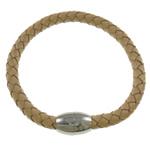 Lederband Armband, Leder, Messing Magnetverschluss, erdgelb, 6mm, Länge:ca. 7.5 ZollInch, 5SträngeStrang/Tasche, verkauft von Tasche