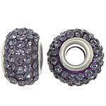 European Harz Perlen, Rondell, Platinfarbe platiniert, Messing-Dual-Core ohne troll & mit Strass, violett, 9x15mm, Bohrung:ca. 5mm, 50PCs/Menge, verkauft von Menge