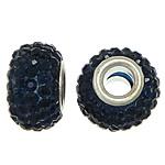European Harz Perlen, Rondell, Platinfarbe platiniert, Messing-Dual-Core ohne troll & mit Strass, schwarzblau, 9x15mm, Bohrung:ca. 5mm, 50PCs/Menge, verkauft von Menge