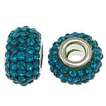 European Harz Perlen, Rondell, Platinfarbe platiniert, Messing-Dual-Core ohne troll & mit Strass, blau, 9x15mm, Bohrung:ca. 5mm, 50PCs/Menge, verkauft von Menge
