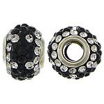 European Harz Perlen, Rondell, Platinfarbe platiniert, Messing-Dual-Core ohne troll & mit Strass & zweifarbig, 9x15mm, Bohrung:ca. 5mm, 50PCs/Menge, verkauft von Menge