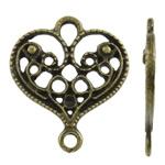 Zinklegierung Schmuckverbinder Einstellung, Herz, antike Bronzefarbe plattiert, 1/1-Schleife, frei von Nickel, Blei & Kadmium, 17.50x20x1mm, Bohrung:ca. 1.5-3mm, ca. 1110PCs/kg, verkauft von kg